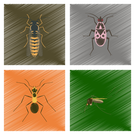 assembly flat shading style illustration of insect honey wasp soldier bug ant mosquito Illustration