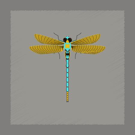 illustration: flat shading style illustration of insect dragonfly