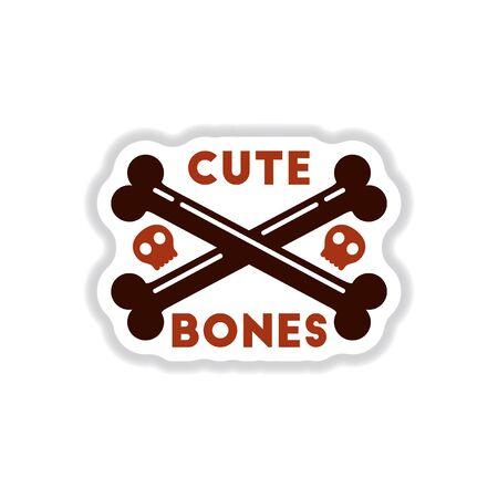 cross bone: paper sticker on stylish background of cross bones Illustration
