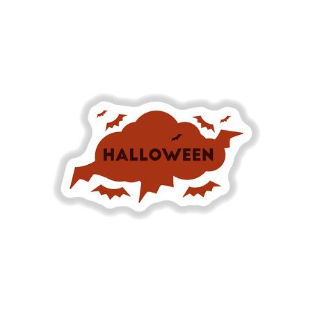 vampire bats: paper sticker on stylish background of cloud bats