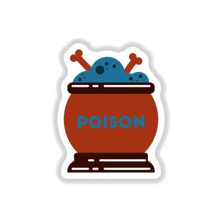 paper sticker on stylish background of potion cauldron Illustration