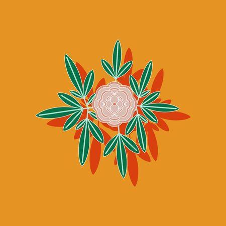 paper sticker on stylish background of flower paeonia Illustration