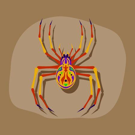 arachnid: paper sticker on stylish background of halloween spider Illustration