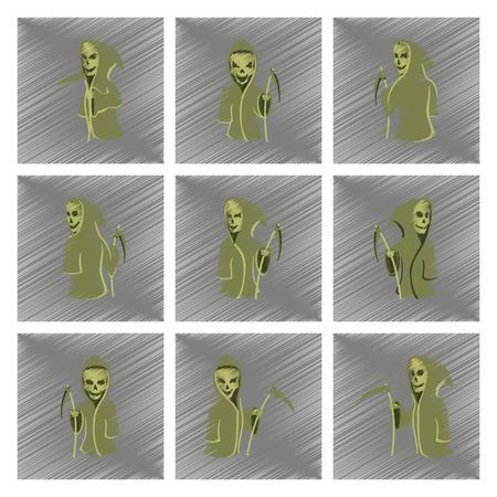 scythe: conjunto de icono de estilo de sombreado plano de Halloween guadaña de la muerte Vectores