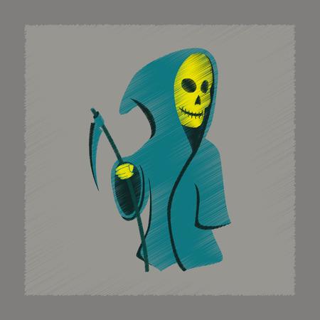 scythe: icono de estilo de sombreado plano de Halloween guadaña de la muerte