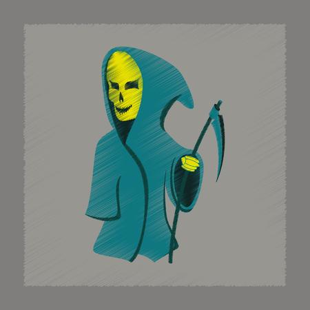 guadaña: icono de estilo de sombreado plano de Halloween guadaña de la muerte