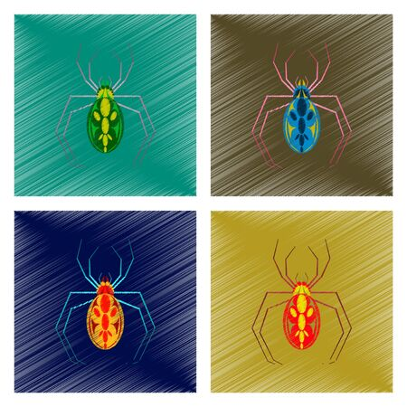 arachnid: assembly flat shading style icon of halloween spider