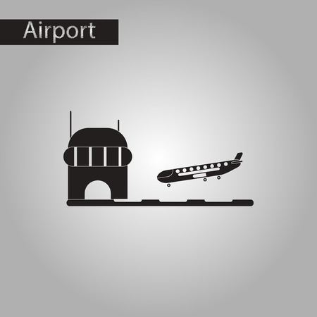 lands: black and white style icon of airplane lands airport
