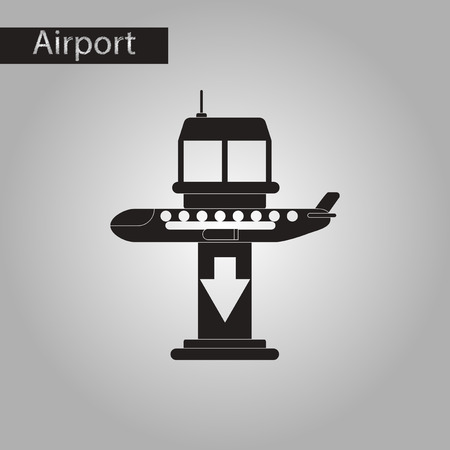 black and white style icon of airplane lands airport