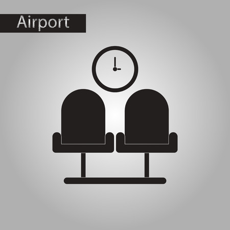 waiting room: black and white style icon of airport waiting room