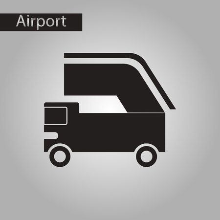 black and white style icon of ramp airport Illustration