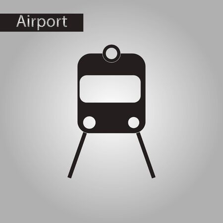 monorail: black and white style icon of train airport