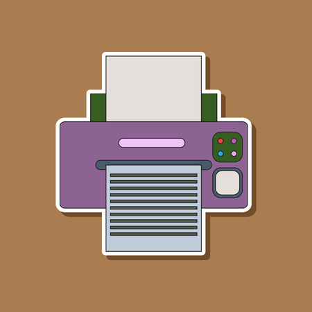 printed machine: paper sticker on stylish background of Printer Illustration