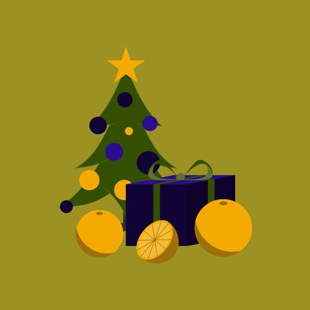 flat illustration on stylish background of Christmas tree orange gift Illustration