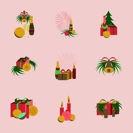 champagne orange: assembly of flat illustration Christmas tree bells toys Illustration