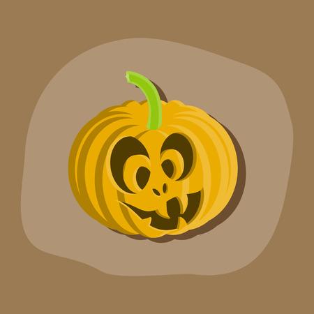 helloween: paper sticker on stylish background of Halloween pumpkin emotions