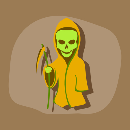 guadaña: paper sticker on stylish background of halloween death scythe Vectores
