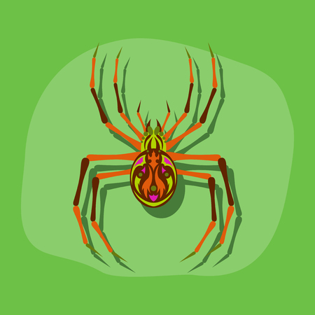 tarantula: paper sticker on stylish background of halloween spider Illustration