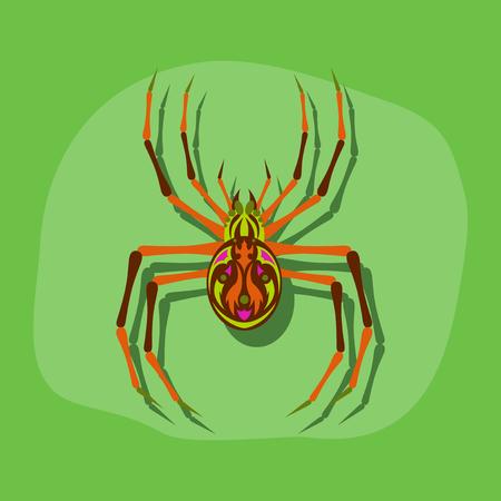 paper sticker on stylish background of halloween spider Illustration