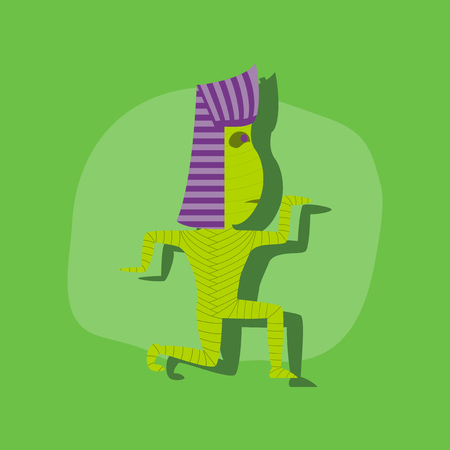 mummified: paper sticker on stylish background of mummy halloween monster Illustration