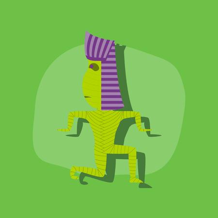 paper sticker on stylish background of mummy halloween monster Illustration