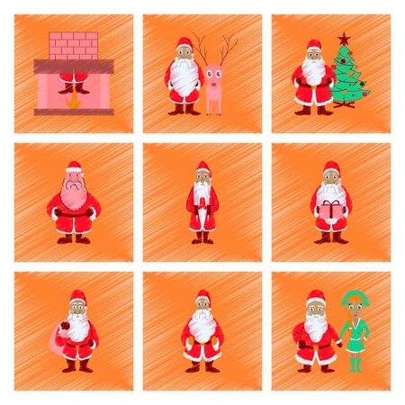 assemblage: assembly of flat shading style illustration Santa Claus