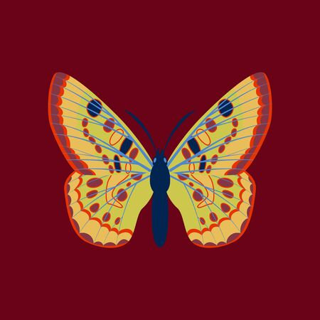 Colorful flat icon of butterfly isolated on red Illustration