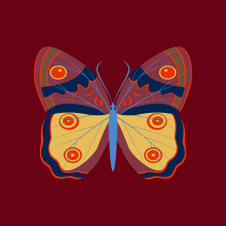 proboscis: Colorful flat icon of butterfly isolated on red Illustration