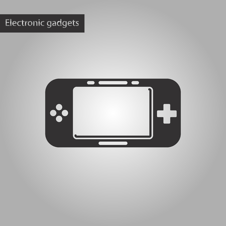 joy pad: black and white style icon of game console Illustration