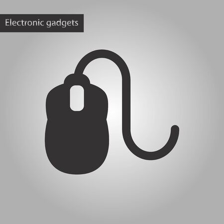 computerized: black and white style icon of computer mouse Illustration
