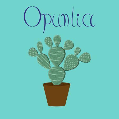 flat illustration stylish background plant Opuntia