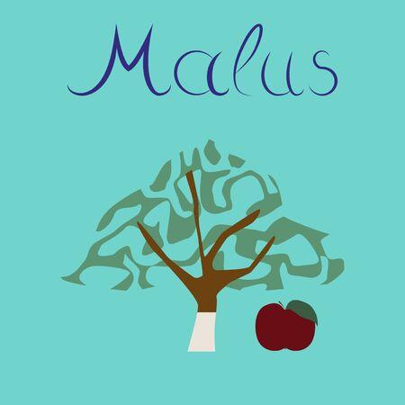 tannins: flat illustration stylish background plant Malus