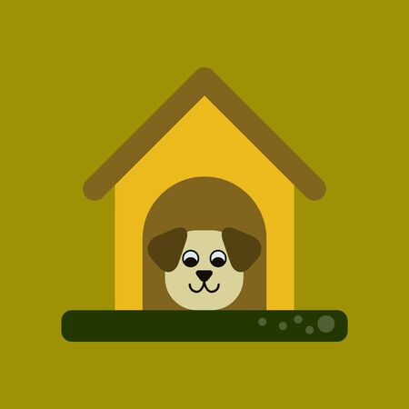 doghouse: flat icon on background dog in booth Illustration