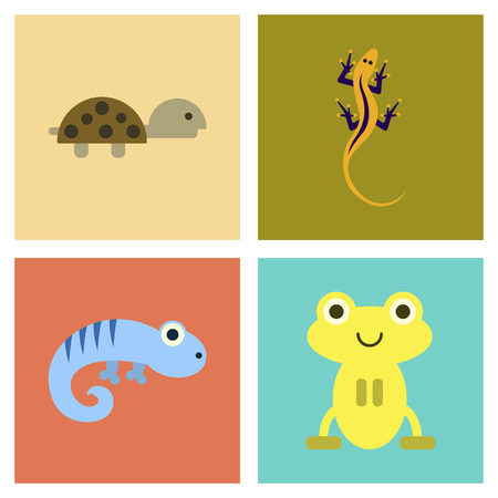 reptiles: assembly flat icons exotic wild reptiles Illustration
