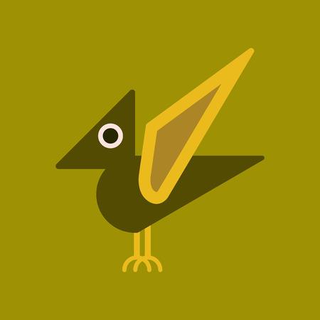 tyrannosaur: flat icon on background cartoon dinosaur
