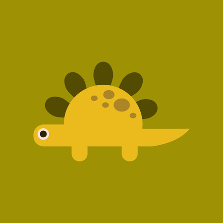 flat icon on background cartoon dinosaur