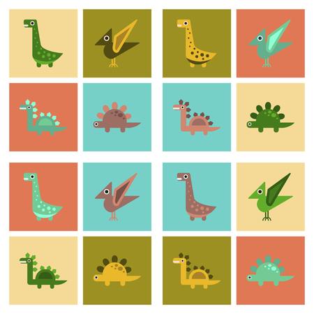 tyrannosaur: assembly flat icons cartoon dinosaur