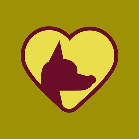 doggies: flat icon on background puppy dog heart