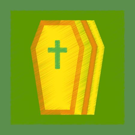 christian halloween: flat shading style icon halloween coffin Illustration