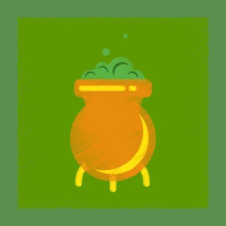 soup kettle: flat shading style icon cauldron witches potion