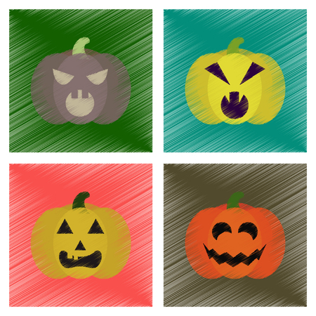 angry vegetable: assembly flat shading style icons halloween pumpkin