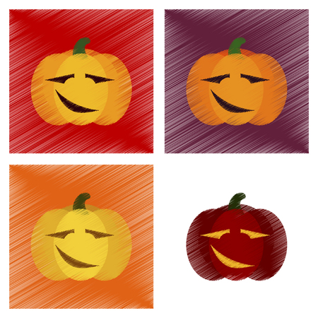 terrible: assembly flat shading style icons halloween pumpkin