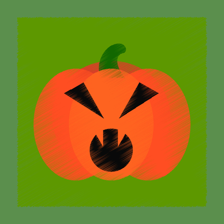 angry vegetable: flat shading style icon halloween pumpkin