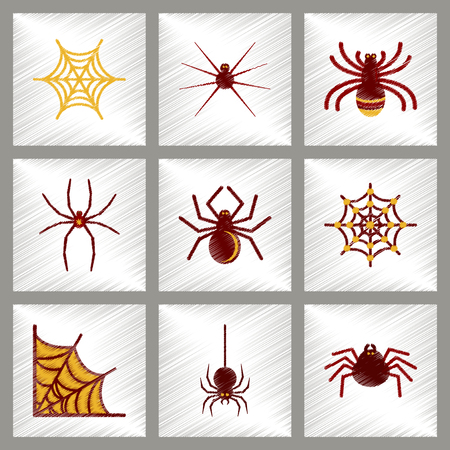 terrifying: assembly flat shading style icons halloween spider web