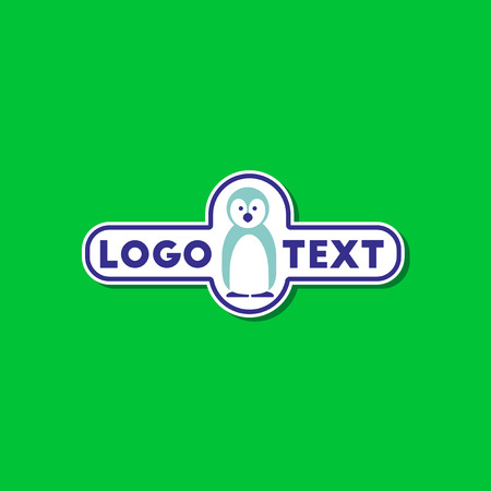 pinguin: paper sticker on stylish background penguin logo