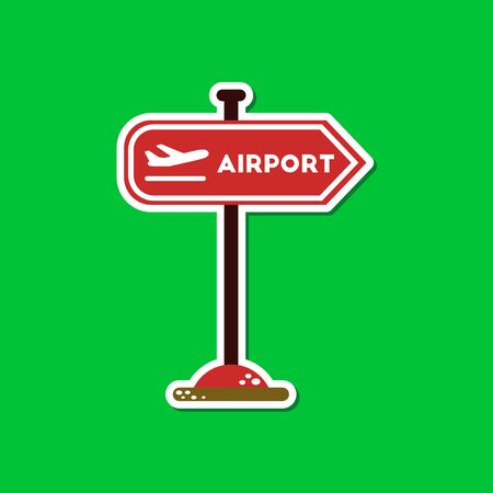 airport sign: paper sticker on stylish background airport sign