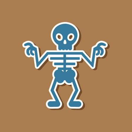 paper sticker on stylish background halloween skeleton