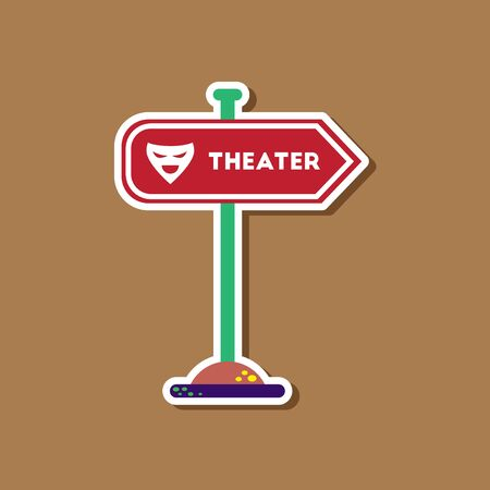 theater sign: paper sticker on stylish background theater sign Illustration