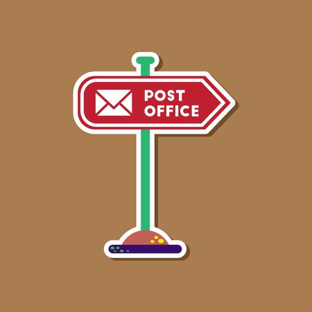 post office building: paper sticker on stylish background sign post office Illustration