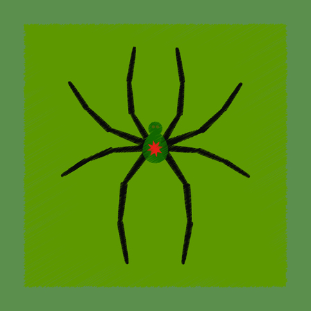 flat shading style icon halloween spider Illustration